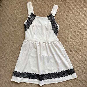 Boutique Dress - White & Black Lace (Size 5)